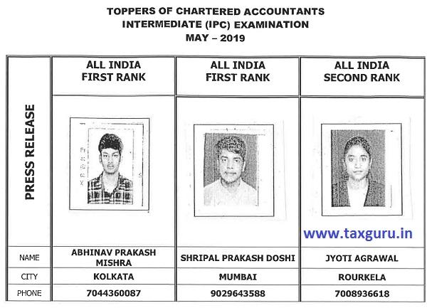 Top 3 Rankers of CA IPC Exam May 2019
