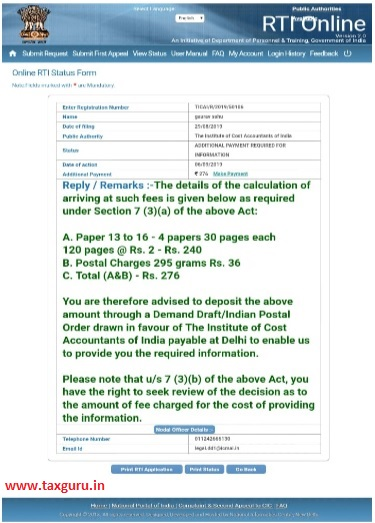 copy of reply received from ICMAI, seeking additional fee payment with payment link at RTI portal