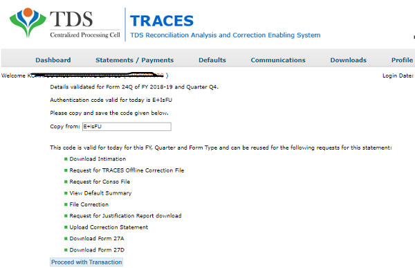 download conso and justification file from traces