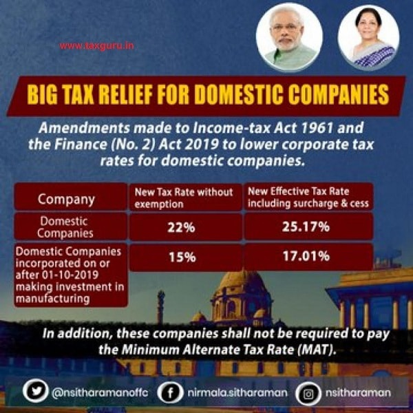 Big Tax Relief For Domestic Companies