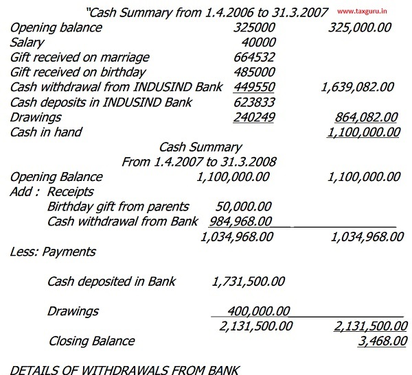 Cash Summary