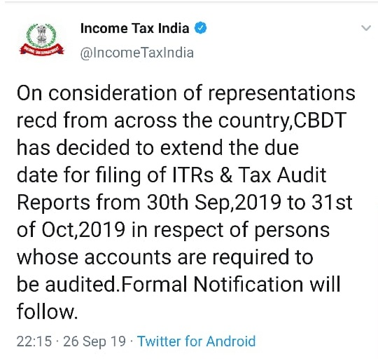 Date Extension Income Tax