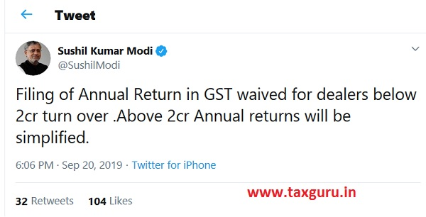 GST Return waived