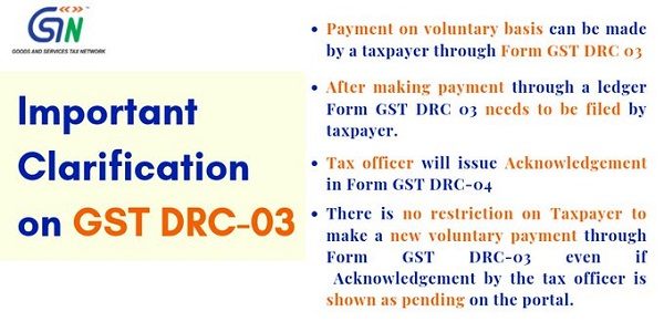 GSTN Clarification on Form GST DRC-03