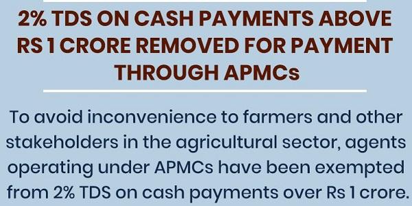 NO TDS on cash payment through APMC