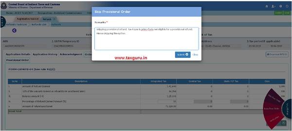 Skipping Provisional Refund Order Fig (xxxii)