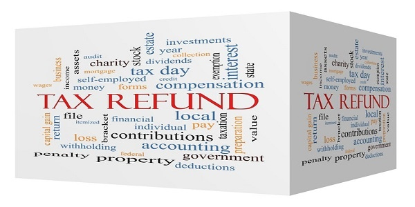 Tax Refund 3D cube Word Cloud Concept