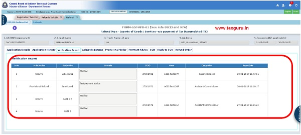 Verification Report Tab (xi)