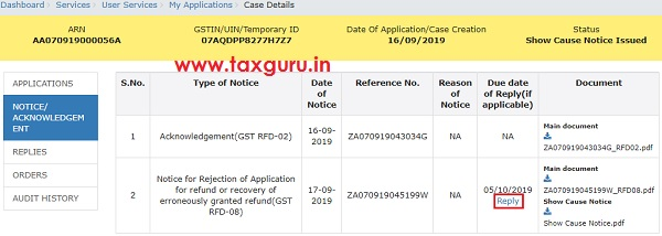 View notices orders and File Reply to the Issued Notices Image 12