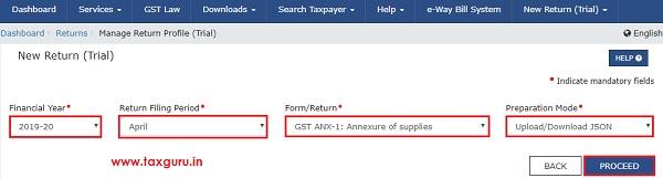 Form GST ANX-1 JSON File Image 2