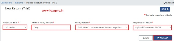 Online Upload and Download of Form GST ANX-2 JSON File Image 2