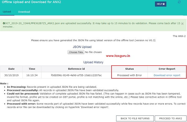 Online Upload and Download of Form GST ANX-2 JSON File Image 6