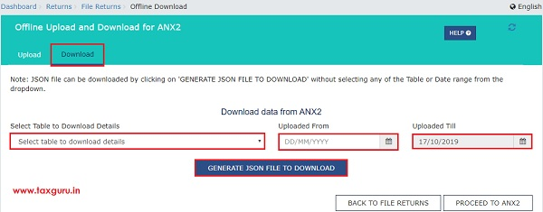 Online Upload and Download of Form GST ANX-2 JSON File Image 8