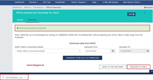 Online Upload and Download of Form GST ANX-2 JSON File Image 9