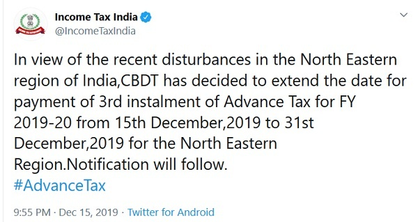 Advance Tax Due date North East Region