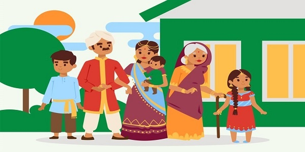 Big happy indian family in national dress vector illustration. Parents, grandmother and children cartoon characters. Family generations standing together, senior woman with grandchildren. Culture.