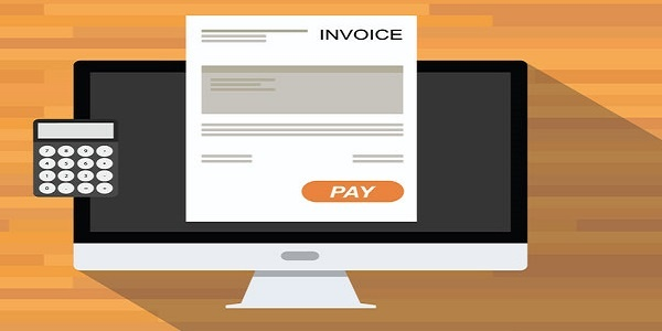 E-Invoice Electronic Invoice online digital invoices calculator document computer flat shadow