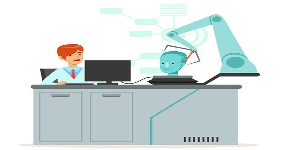 Female scientist and robotic arm conducting experiments in a modern laboratory, research center, artificial intelligence concept vector illustration isolated on a white background