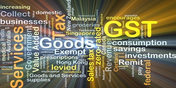 Goods and Services Tax GST glowing light