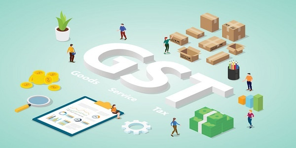 gst goods service tax with big words and people team business with modern isometric flat - vector