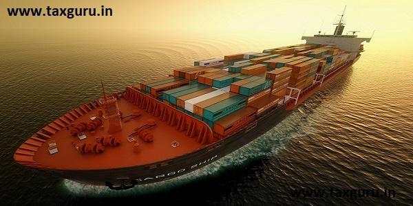 CG Aerial shot of container ship in ocean. Ocean Fright