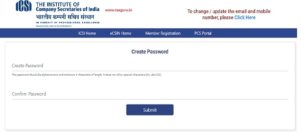 After the successful registration to the eCSIN, the user is redirected to Create Password page