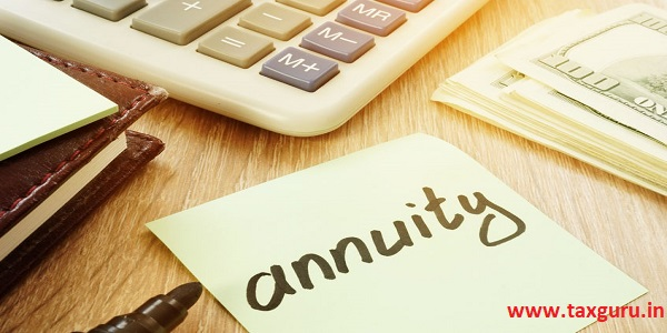 Annuity sign and calculator. Money for savings.