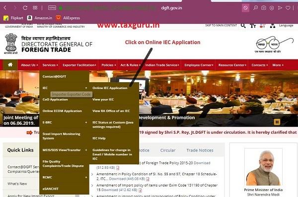 Click Online IEC Application