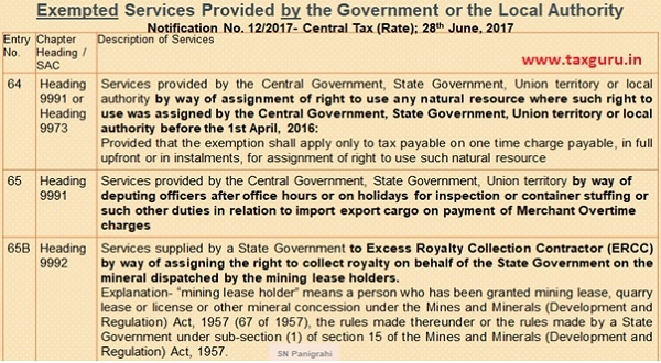 Exempted Services Provided by the Government or the Local Authority 3