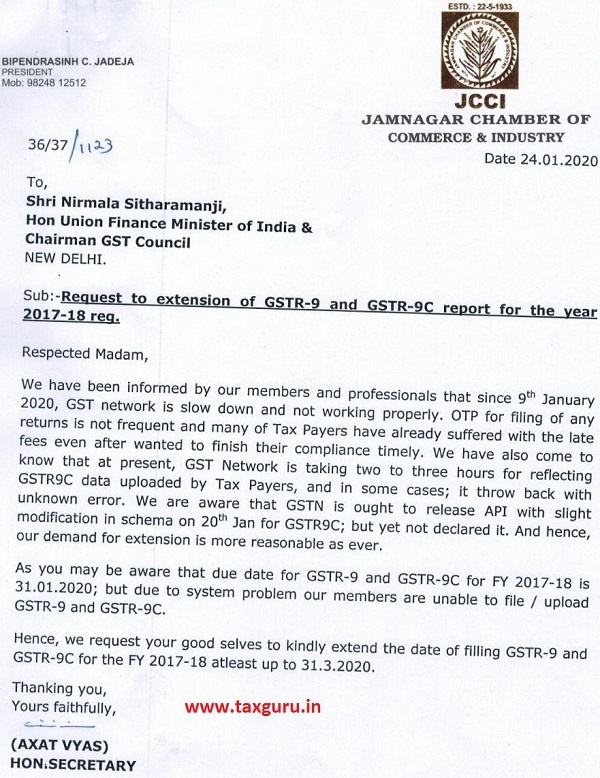 Extension of GSTR-9 and GSTR-9C