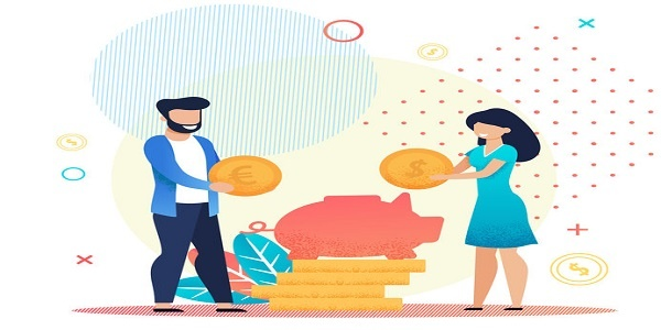 Married Couple Save Money in Piggy Bank Metaphor