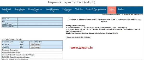 Submit and Generate IEC Certificate