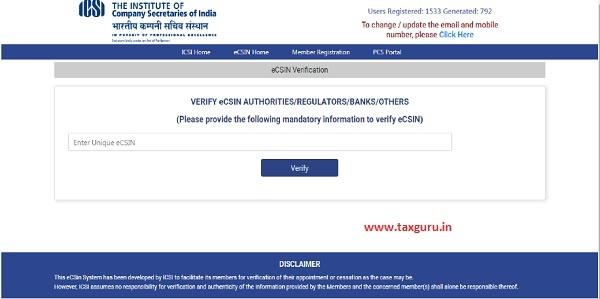 Verify eCSIN Authorities
