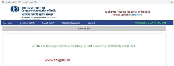 eCSIN has been successfully