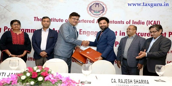 CA Rajesh Sharma, Chairman CCBMP of ICAI and CA Kapil RANA, Chairman Hostbooks and World Bank Representatives Sharing MOU