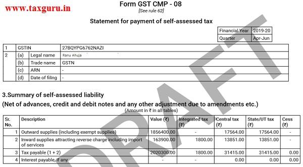 Filing Form GST CMP-08 Image 8