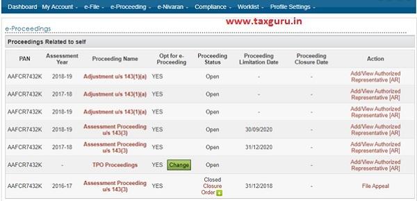 e-Proceeding menu, below screen will appear