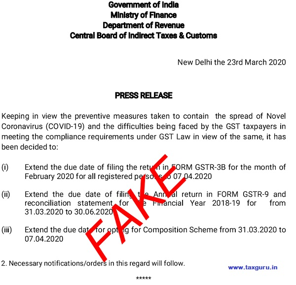 Fake Press Release on Extension of GST Return Due Date