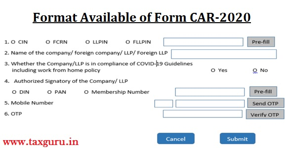 Format Available of Form CAR-2020