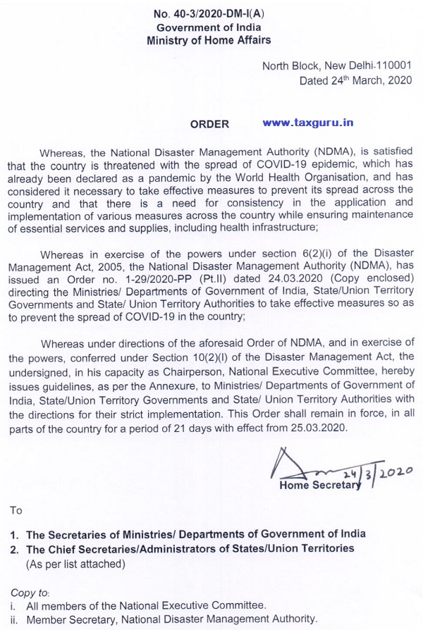 MHA Order on 21 days Lockdown