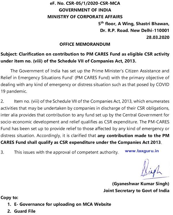 PM CARES- CSR