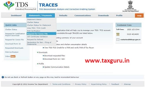 Request for conso file from Traces Portal