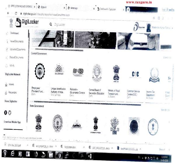 Sample Screens at DigiLocker App are shown below