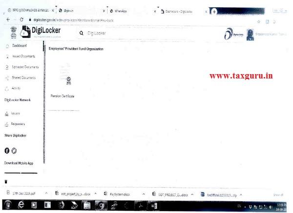 Sample Screens at DigiLocker App