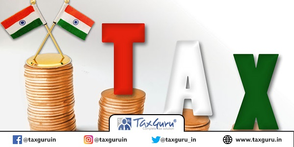 TAX word coloured in indian flag on coins with flag