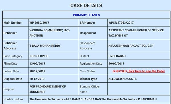 Vasudha Bommireddy Vs Assistant Commissioner of Service Tax (Telangana High Court)