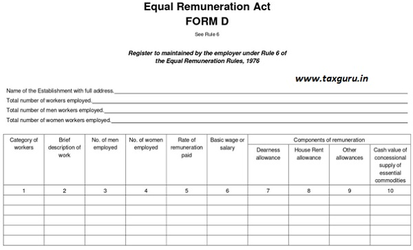 Equal Remuneration Act FORM D