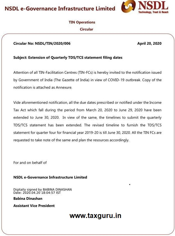Extension of Quarterly TDSTCS statement filing dates
