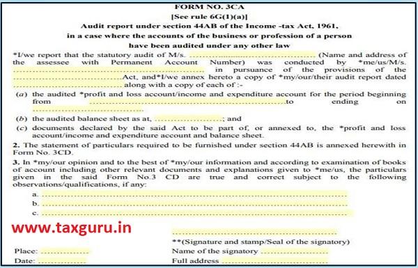 Form No. 3CA