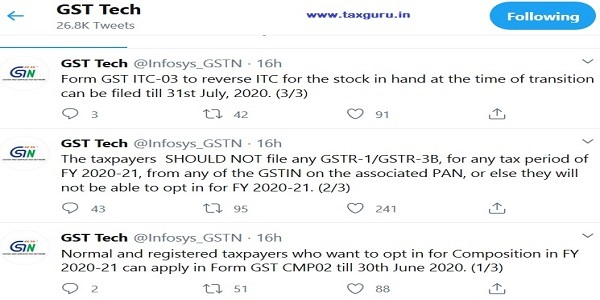 GSTIN Advisory on Composition Scheme, GSTR-1 GSTR-3B GST ITC-03